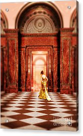 Lady In Golden Gown Walking Through Doorway Acrylic Print by Jill Battaglia