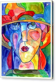 Lady In Hat Watercolor Acrylic Print