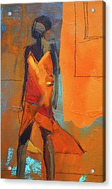 Acrylic Print featuring the painting Lady In Orange by Nancy Merkle