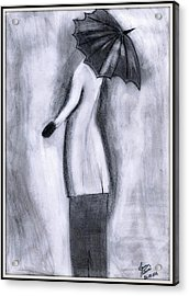 Lady In Rain Acrylic Print by Gaurav Patwari