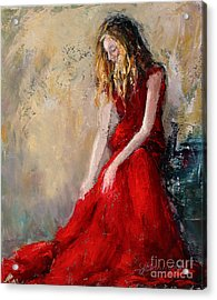 Lady In Red 2 Acrylic Print by Jennifer Beaudet