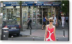 Lady In Red And White On Gaztambide Street - Madrid Acrylic Print by Thomas Bussmann