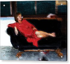 Lady In Red Acrylic Print