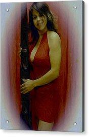 Lady In Red Acrylic Print by Maribel McIntosh