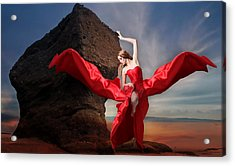 Acrylic Print featuring the mixed media Lady In Red by Marvin Blaine
