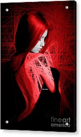 Acrylic Print featuring the digital art Lady In Red by Rafael Salazar