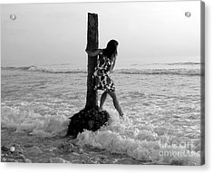 Lady In The Surf Acrylic Print by David Lee Thompson