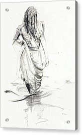 Acrylic Print featuring the drawing Lady In The Waters by Kerryn Madsen-Pietsch