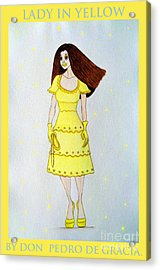 Acrylic Print featuring the painting Lady In Yellow by Don Pedro De Gracia