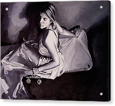 Lady Justice  Black And White Acrylic Print by Laura Pierre-Louis