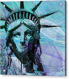 Lady Liberty Head 20150928 Square P150 Acrylic Print by Wingsdomain Art and Photography