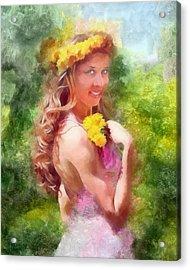 Lady Of The Dandelions Acrylic Print by Peter Kupcik