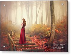 Lady Of The Golden Forest Acrylic Print by Evelina Kremsdorf