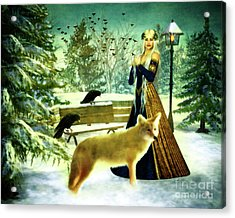 Lady Of Winter Acrylic Print by KaFra Art