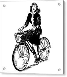 Lady On A Bike Acrylic Print by Karl Addison