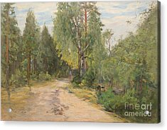 Lady On A Forest Path Acrylic Print by Celestial Images