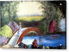 Lady On The Bridge Acrylic Print by Julie Lamons