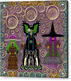 Lady Panda And Friends Gathering In The Starry Night,dracula Involved Acrylic Print