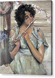 Lady Playing Flute Acrylic Print