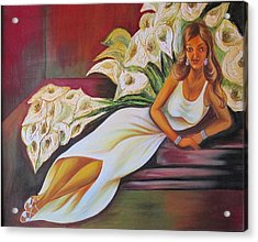 Lady Relaxing With Cala Lilies Acrylic Print by Xafira Mendonsa