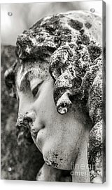 Lady Sculpture Head At Rest Mount Olivet Cemetery Nashville Tn Acrylic Print by Photo Captures by Jeffery