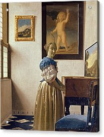 Lady Standing At The Virginal Acrylic Print by Jan Vermeer