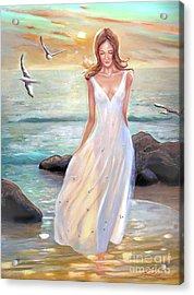 Lady Walking On The Beach Acrylic Print
