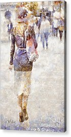 Lady Walking Acrylic Print by Shirley Stalter