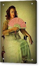 Lady With A Fan Acrylic Print