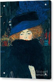 Lady With A Hat And A Feather Boa Acrylic Print by Gustav Klimt