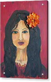 Acrylic Print featuring the painting Lady With Flower by Sladjana Lazarevic