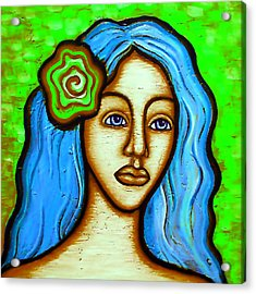 Lady With Green Flower Acrylic Print by Brenda Higginson