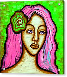 Lady With Green Flower-pink Acrylic Print by Brenda Higginson