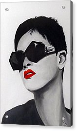 Lady With Sunglasses Acrylic Print by Birgit Jentsch
