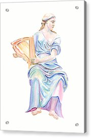 Acrylic Print featuring the painting Lady With The Golden Harp by Elizabeth Lock