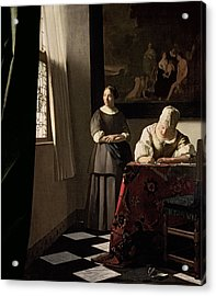 Lady Writing A Letter With Her Maid Acrylic Print