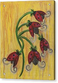 Ladybug Flowers Acrylic Print by Kristen Fagan