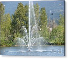 Acrylic Print featuring the painting Lafarge Lake Fountain by Rod Jellison