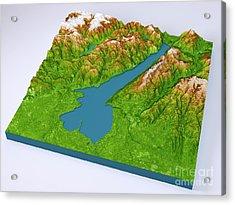 Lago Di Garda 3d Model Color Topographic Map On Blue Acrylic Print by Frank Ramspott