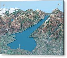Lago Di Garda Topographic Map 3d Landscape View Natural Color Acrylic Print