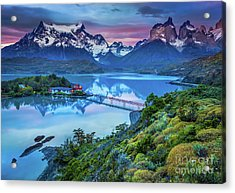 Lago Pehoe - March Acrylic Print by Inge Johnsson