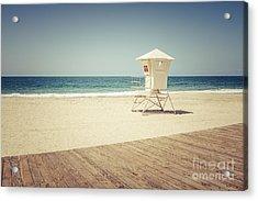 Laguna Beach Lifeguard Tower Vintage Picture Acrylic Print by Paul Velgos