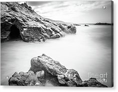Laguna Beach Rock Formations Black And White Picture Acrylic Print by Paul Velgos