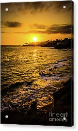 Laguna Beach Sunset Picture At Shaw's Cove Acrylic Print by Paul Velgos