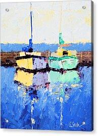 Lahaina Boats Acrylic Print by Leslie Saeta