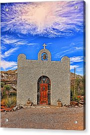 Lajitas Chapel Painted Acrylic Print by Judy Vincent