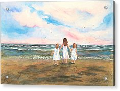 Acrylic Print featuring the painting Lake Angels by Sandra Strohschein