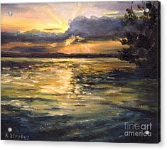 Acrylic Print featuring the painting Lake by Arturas Slapsys
