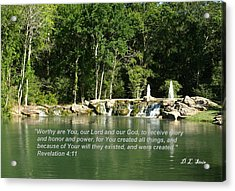 Lake At Cinco Ranch With Scripture Acrylic Print by Dennis Stein