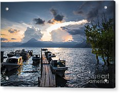 Acrylic Print featuring the photograph Lake Atitlan At Sunset by Yuri Santin